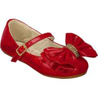 Sapato Boneca Em Couro Com Laã§O- Vermelhaprints Kids