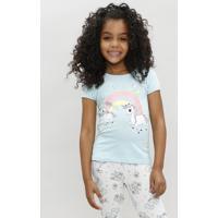 Blusa Infantil Unicórnio E Arco Íris Manga Curta Decote Redondo Azul Claro