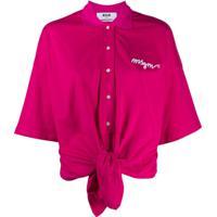 Msgm Camisa Polo Com Amarração Na Cintura E Logo - Rosa