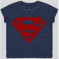 6c7a3706f CEA  Camiseta Infantil Super Homem Botonê Manga Curta Azul Marinho