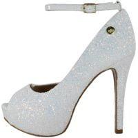 Peep Toe Week Shoes Meia Pata Glitter Furtacor Branco Corte Lateral.