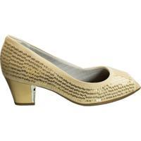 Sapato Peep Toe Piccadilly Microfibra 714057 - Feminino-Nude