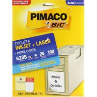 Etiqueta Adesiva Pimaco Carta Com 100 Unidades 138,11X106,36Mm