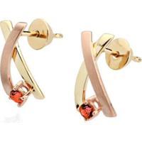 Brinco Em Ouro E Rosé Com Pedra - Coleção Felizes Para Sempre - Br17021 Casa Das Alianças Feminino - Feminino-Dourado