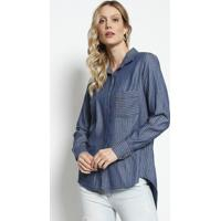 Camisa Listrada Com Bolso Frontal - Azul Marinho & Cinzadudalina