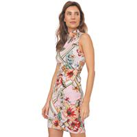 Vestido Dimy Curto Floral Rosa/Laranja