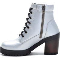 Bota Atron Shoes Com Zíper 9404 Verniz Prata