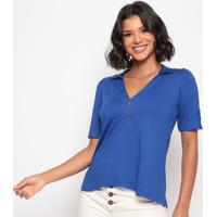 Blusa Lisa Com Zíper - Azul Escuro - Thiptonthipton