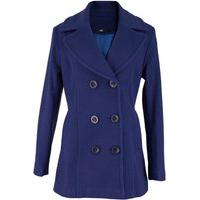 Casaco Feminino Trench Coat Viena Em Lã Batida - Azul Marinho