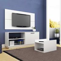 Rack Com Painel Para Tv Até 47 Polegadas E Mesa De Centro Br398 Branco - Brv Móveis