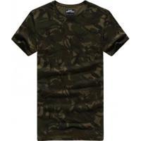 Camiseta Masculina Com Estampa Camuflado Manga Curta - Verde Exército