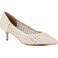 Scarpin Couro Shoestock Salto Médio Tressê - Feminino-Off White