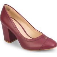 Sapato Tradicional Com Microfuros - Bordã´- Salto: 8Ccapodarte