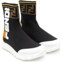 Fendi Kids Tênis Color Block Com Logo - Preto