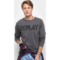 Camiseta Replay Manga Longa Estampa Logo Masculina - Masculino-Cinza