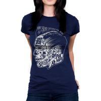 Camiseta Baby Look Hshop Rebel Azul