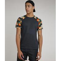 Camiseta Masculina Bbb Raglan Com Estampa De Folhagem Manga Curta Gola Careca Cinza Mescla