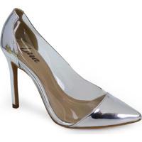 Sapato Scarpin Lara Vinil Prata