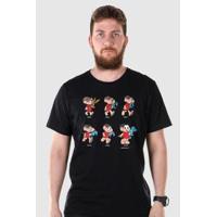 Camiseta Bandup! Turma Da Mônica 50 Anos Evolução Modelo 2 - Masculino-Preto