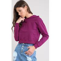 Blusão Feminino Básico Cropped Com Capuz Em Moletom Roxo