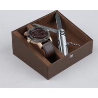 Kit De Relógio Analógico Mondaine Masculino + Canivete - 94850Gpmvic5K Marrom - Único