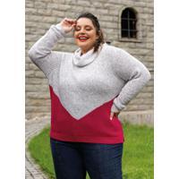 Blusa De Tricô Plus Size Gola Alta Off E Rosa