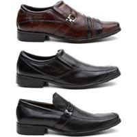 Kit 3 Pares Sapato Social Hshoes Couro Conforto Elegante Masculino - Masculino-Marrom+Preto