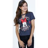 Blusa Juvenil Choker Estampa Minnie Manga Curta Disney
