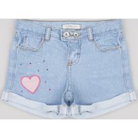 Short Jeans Infantil Com Patch E Strass Azul Claro