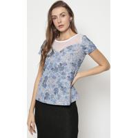 Blusa Floral Com Tule Poã¡- Azul & Branca- Mirasulmirasul