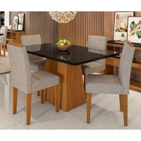Conjunto De Mesa De Jantar Com Tampo De Vidro Bárbara E 4 Cadeiras Amanda Veludo Linho Preto E Creme