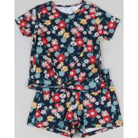 Conjunto Infantil De Blusa Estampada Floral Manga Curta + Short Azul Marinho