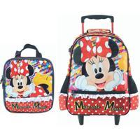 Mochila Com Rodas E Lancheira Infantil Escolar Magic Bow - Minnie Vermelha - Vermelho - Menina - Dafiti
