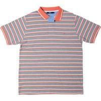 Camisa Polo Listrada Cinza Claro Gg