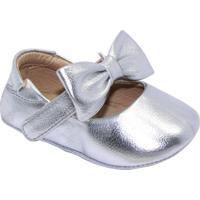 Sapato Boneca Com Tira & Laã§O - Prateado- Luluzinhaluluzinha