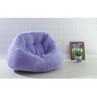Puff Para Sala Redondo Peluciado Cozy - Cor Lilas - 120X110X70Cm