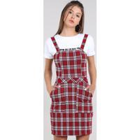 3f85ad45f CEA; Vestido Feminino Curto Estampado Xadrez Com Bolso Alça Média Vermelho  Escuro