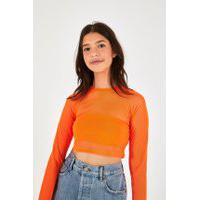 Blusa Cropped Tule Neon