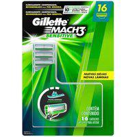 Carga Gillette Mach3 Sensitive Com 16 Unidades