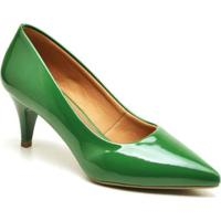 Scarpin Casual Salto Baixo Ellas Online Feminino - Feminino-Verde