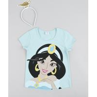 Blusa Infantil Carnaval Jasmine Manga Curta + Tiara Verde Claro