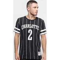 Camiseta Charlotte Hornets Mitchell & Ness B&W Arch Masculina - Masculino-Preto