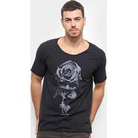 Camiseta Bossa Brasil Rose Skull Masculina - Masculino-Preto