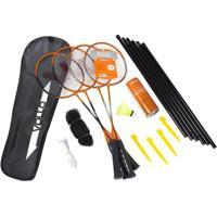Kit Badminton Vollo - 4 Raquetes, 3 Petecas, Rede E Suporte