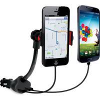 Suporte Isound Para Smartphones Com Carregador Duplo Veicular Via Usb Preto