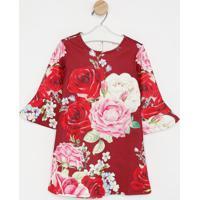 Vestido Floral Com Botão- Vermelho & Rosaluluzinha