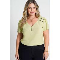 Blusa Decote V Almaria Plus Size New Umbi Viés Con