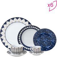 Aparelho De Jantar Emirates- Branco & Azul Escuro- 4Wolff