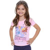 Blusa Infantil Manga Curta Princesas Disney