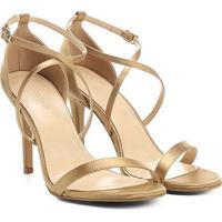Sandália Shoestock Salto Fino Festa - Feminino-Dourado